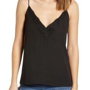 Socialite lace trim v-neck cami tank top black